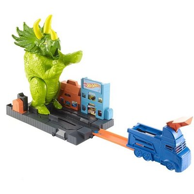 Hot Wheels City Verpletterende Triceratops met 1 Auto