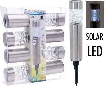 Solarlampen LED - RVS + Glas - Set van 4