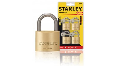 Stanley S742-038 Padlock Solid Brass 40 Mm 4-pack