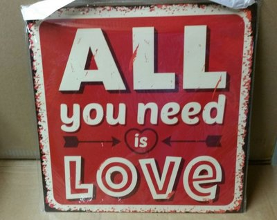 Metalen tekst bord all you need