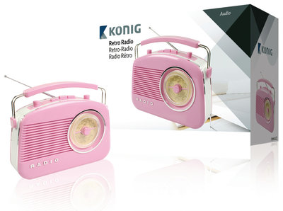 König HAV-TR710PI Retrodesign AM/FM Radio Roze