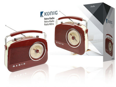 Konig HAV-TR710 Retrodesign AM/FM Radio - Bruin