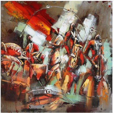 Metalen schilderij Big band