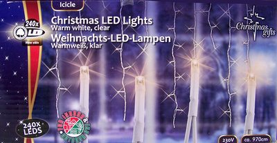 Kerstverlichting ijspegels wit 240 LED´s