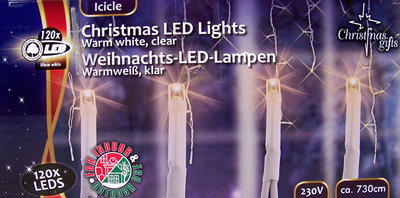 Kerstverlichting ijspegels wit 120 LED´s
