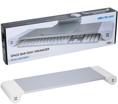 Space Bar Desk Organizer met 4 USB-laadpunten