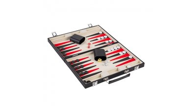 Backgammon in Koffer Zwart