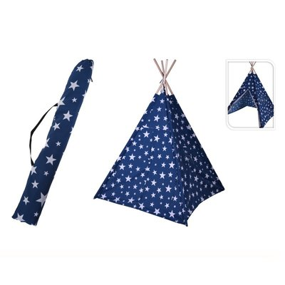 Kids Collection Speeltent Tippie 103x103x160 cm Blauw/Wit